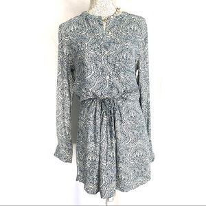 Gap // Blue Floral Print Cinch Waist Shirt Dress M